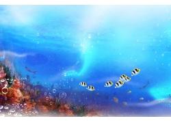 泡泡海鱼背景墙