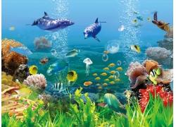 青草鱼群海底背景墙