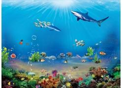 海底风光背景墙