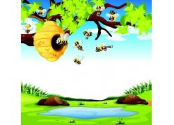卡通蜜蜂蜂窝