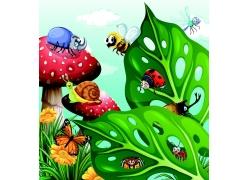 卡通蘑菇树叶昆虫