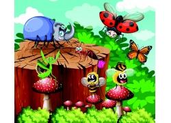 卡通昆虫与蘑菇