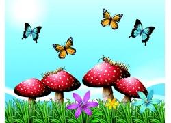 卡通蘑菇与昆虫