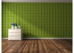 绿色花纹墙壁与地板