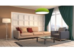 现代明亮客厅效果图