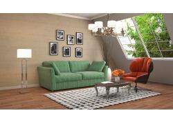 绿沙发客厅效果图