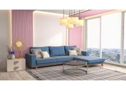 粉色背景墙客厅效果图
