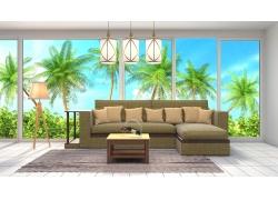 椰子树背景沙发客厅效果图