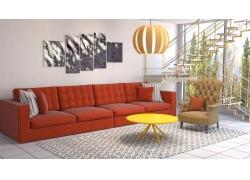 红色沙发客厅效果图