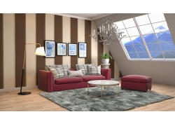 斜坡顶客厅效果图