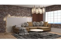 客厅里的沙发和茶几