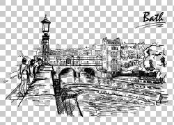 城市里的河流与桥梁建筑物图片