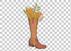 卡通鞋子与树叶