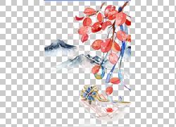 水彩树叶发钗设计素材