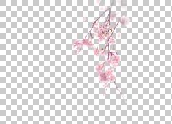 水彩绽放的桃花设计素材图片