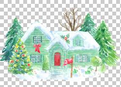 绿色圣诞树房子