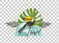 手绘树叶前面的鸟