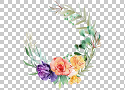 彩色绿叶与花朵设计