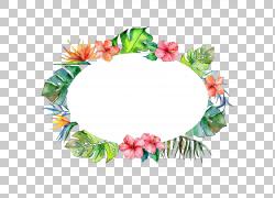 水彩花朵花环