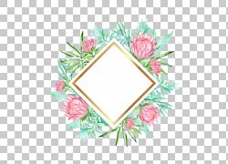 鲜花立体金边矩形