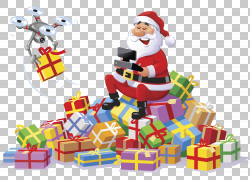 圣诞老人无人驾驶飞行器圣诞节礼物无线电控制,圣诞老人提出PNG剪图片