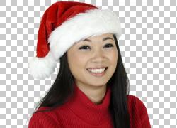 戴着圣诞帽笑的女性PNG剪贴画图片