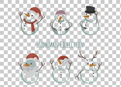 雪人圣诞帽,6可爱的雪人PNG剪贴画帽子,假期,圣诞节装饰,虚构人物图片