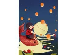 红色鲤鱼女孩