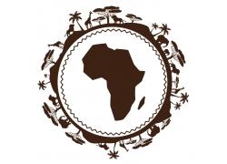 非洲地图剪影图片