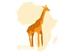 非洲地图与长颈鹿图片
