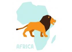卡通狮子与非洲地图图片