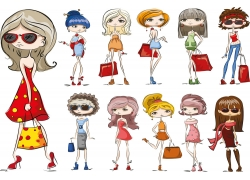 时尚女孩插图图片