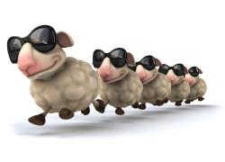 戴墨镜的3D卡通羊