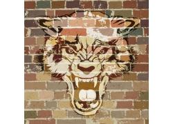 怀旧墙上的狼图案