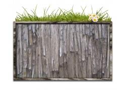 鲜花草地与木板背景