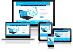 蓝色电脑网站设计素材