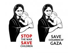 抱着婴儿的母亲插画