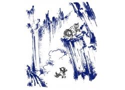 麒麟与水墨山水画