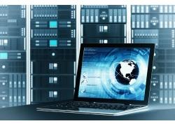 笔记本电脑与电子科技图案