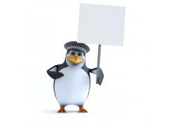 举着广告牌的3D企鹅