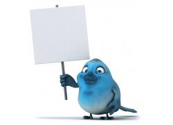 举着广告牌的3D卡通小鸟