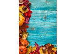 木板与树叶背景