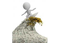 金融冲浪的3D小人