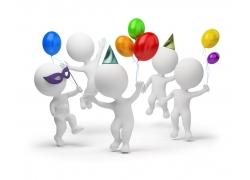 开生日派对的3D小人