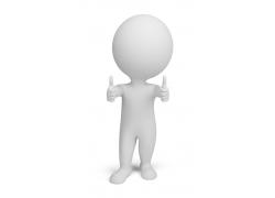 竖大拇指的3D小人
