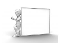 竖大拇指的3D小人与广告牌
