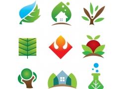 生态环保绿叶标志图片