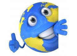 竖大拇指的3D地球