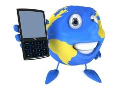 拿着手机的地球