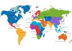 彩色世界地图地块区域图片